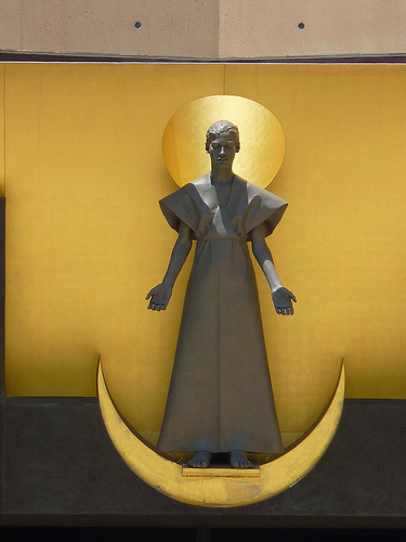 Statue In Cathedral Of Our Lady Of The Angels Wondering Why Everyone