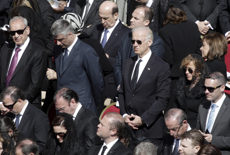Former Vice President Joe Biden attending Pope Francis' Installation Mass.