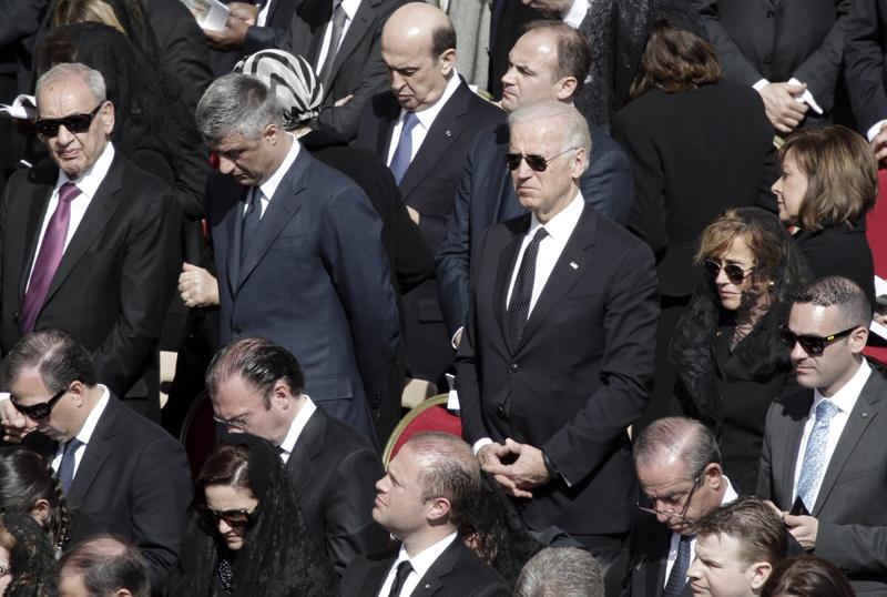 Former Vice President Joe Biden attending Pope Francis' Installation Mass.